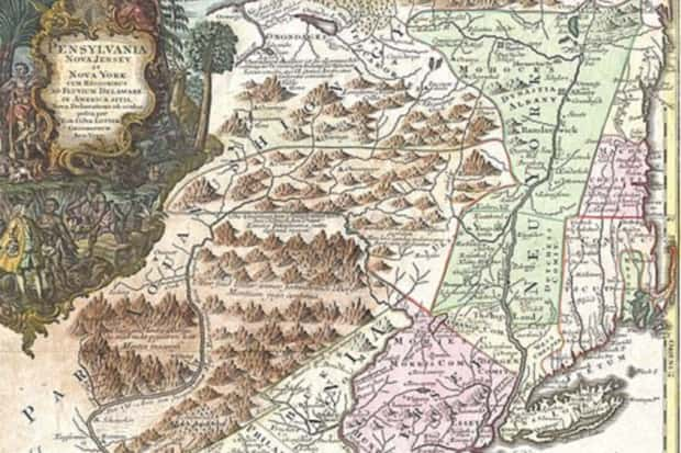 18th c  map New York province
