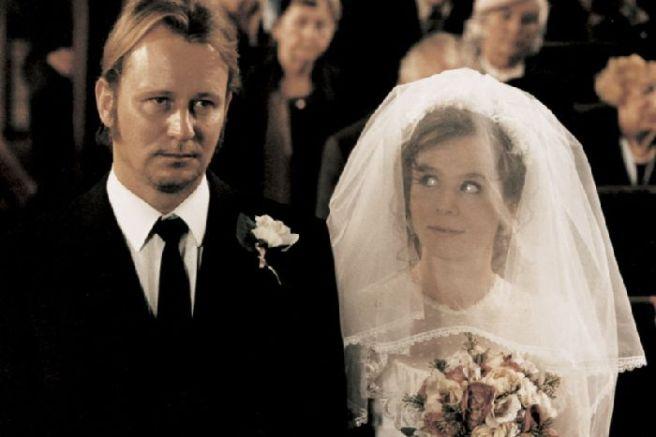Watson and Stellan Skarsgard in Lars Von Trier's Breaking the Waves, set in the Scottish Highlands, 1996